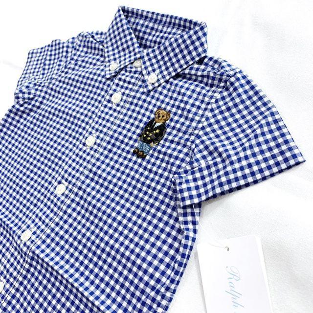 Ralph Lauren(ラルフローレン)のラルフローレン ポロベア ギンガム ショートオール ロンパース 6Mサイズ. キッズ/ベビー/マタニティのベビー服(~85cm)(ロンパース)の商品写真