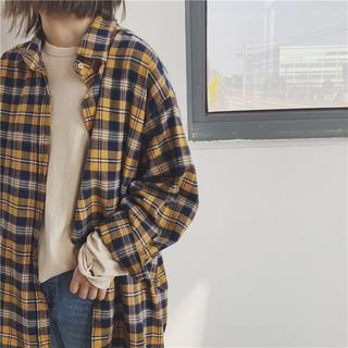 ロングチェックシャツ イエロー nsm15(シャツ/ブラウス(長袖/七分))