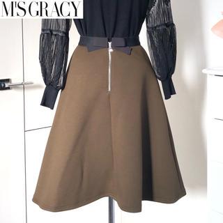 エムズグレイシー(M'S GRACY)の訳有2018年 M'S GRACY エムズグレイシー バックリボン スカート36(ひざ丈スカート)