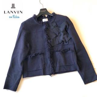 ランバンオンブルー(LANVIN en Bleu)のランバン オンブルー 2018 リボンニットカーディガンノーカラー ジャケット(ノーカラージャケット)