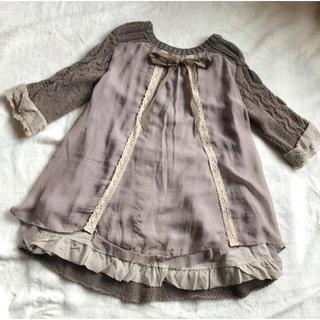 ファーファー(fur fur)のlace knit one piece*(ミニワンピース)