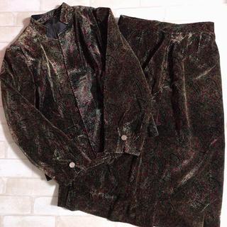 サンタモニカ(Santa Monica)のペイズリー柄 ベルベット 光沢 ジャケット スカート レトロセットアップ ベロア(ロングスカート)