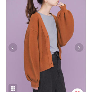 ケービーエフ(KBF)の 新品タグ◆ガーター編みショートガーディガン オレンジブラウン(カーディガン)