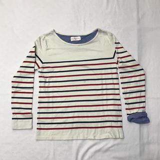 ブラウニー(BROWNY)のボーダーカットソー M 白地に赤と紺のボーダー(Tシャツ/カットソー(七分/長袖))
