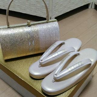 4 F【新品・未使用】礼装用❗ 金彩加工高級草履バック