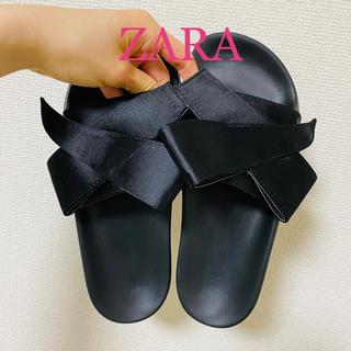 ZARA - ZARA リボンサテンフラットサンダル ザラ