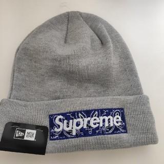 Supreme - supreme ニット帽 ビーニー グレー 2018aw ボックスロゴ