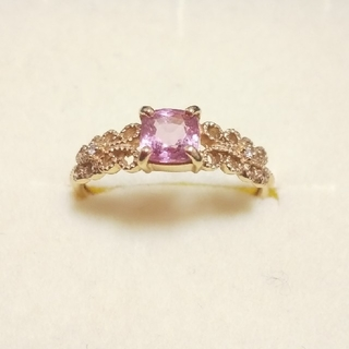 ビズー ピンクサファイア ダイヤモンド リング K18 PG(リング(指輪))