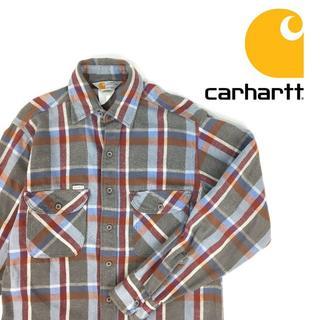 カーハート(carhartt)のアメリカ製 カーハート ヘビーネルシャツ チェック 長袖 80s 90s(シャツ)