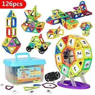 赤、青、緑、紫色、黄色HannaBlockマグネットブロック 磁気おもちゃ 子供