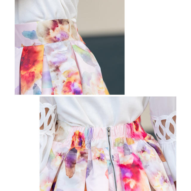 tocco(トッコ)のtocco にじみ水彩フラワープリントサテンスカート レディースのスカート(ひざ丈スカート)の商品写真