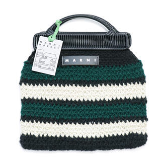 Marni - 新品 紙袋付き マルニ フラワーカフェ クロシェ バッグ グリーン トートバッグ