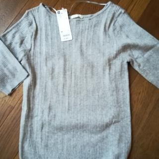 GU - 新品 GU  ワイドリブボートネックセーター(五分袖)