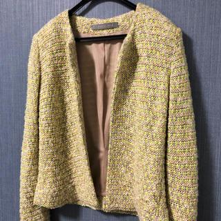 theory luxe 春向きニットツイードのオープンジャケット