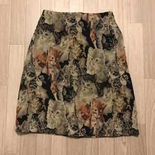 w closet - wcloset ゴブラン織り風スカート ネコ