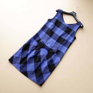 GRACE CONTINENTAL - ■ダイアグラム■ 36 青紫x黒 ワンピース リネン混