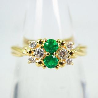 K18 エメラルド ダイヤモンド リング 11号 [g159-8](リング(指輪))