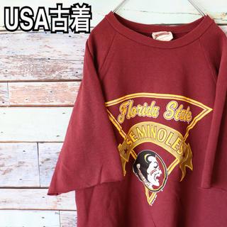 USA製 古着 リメイク スウェット Tシャツ L(Tシャツ/カットソー(半袖/袖なし))