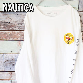 ノーティカ(NAUTICA)の美品 ノーティカ 90s 袖 バック プリント ロンT XL(Tシャツ/カットソー(七分/長袖))