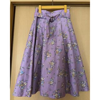 dazzlin - ダズリン dazzlin 花柄スカート フレアスカート 紫 パープル ベルト
