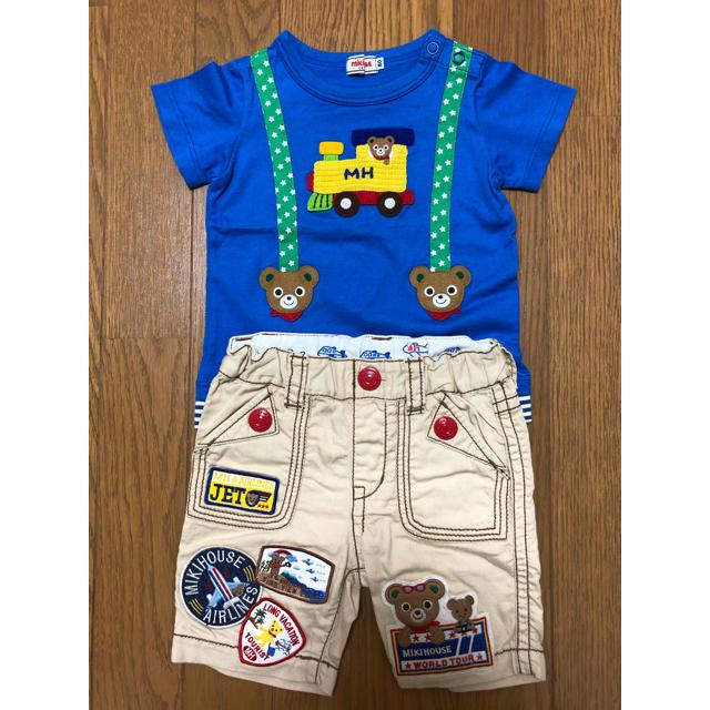 mikihouse(ミキハウス)のよぴこ様専用ミキハウス サスペンダー風編込みシャツ、豪華ワッペンパンツ (80) キッズ/ベビー/マタニティのベビー服(~85cm)(Tシャツ)の商品写真