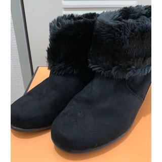 ショートブーツ ムートンブーツ 2way ファー 25.0 25.5 大きい(ブーツ)