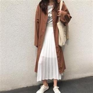 【2XL/ブラウン】シャツコート ロングシャツワンピース レディース 大きい(ロングワンピース/マキシワンピース)
