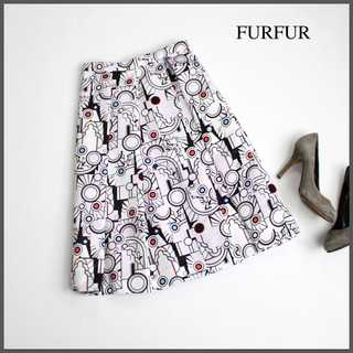 fur fur - ファーファー★コミックプリント タックフレアスカート ミモレ丈 F ピンク