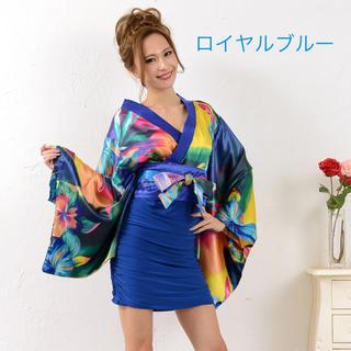 リボン付きサテン&ストレッチギャザーミニ花魁着物ドレス衣装  コスプレ4カラー