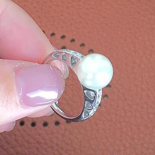 Pt900 アコヤパール 簡易鑑別書 ダイヤモンドリング セレブ セレクト(リング(指輪))