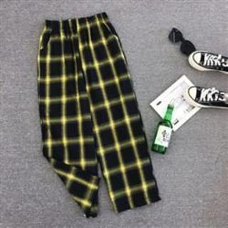 【XL/イエロー】チェック柄ワイドレッグパンツ カジュアル ハイウエスト 美脚(カジュアルパンツ)