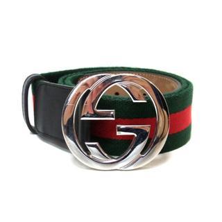 Gucci - グッチ GUCCI ■ 411924 GGバックル シェリーライン ウェブベルト