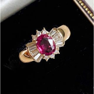 k18 大粒ルビー0.87ct ダイヤ0.41ct リボン デザインリング(リング(指輪))