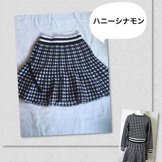 ハニーシナモン(Honey Cinnamon)の美品 ハニーシナモン ブロックチェック スカート セットアップ(ミニスカート)