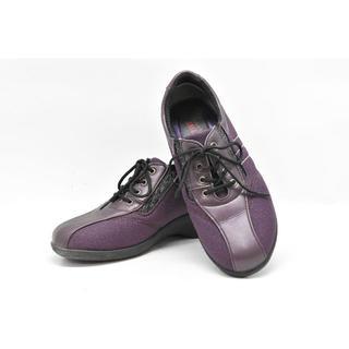 55b01◆快歩主義◆サイドゴムで脱ぎ履き楽ちん♪ラメ入りの紫◎22cm EEE(スニーカー)
