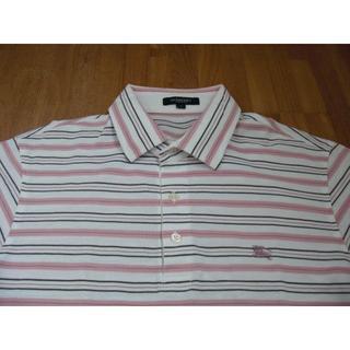 BURBERRY - 中古美品 バーバリーロンドン 半袖ポロシャツ 横縞 ピンク・白・黒 L