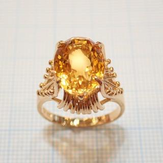 ■K18シトリン(黄水晶)リング■昭和レトロ アンティーク ジュエリー■クォーツ(リング(指輪))