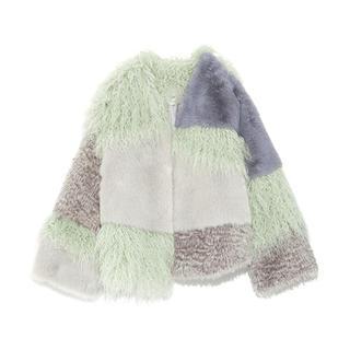 ファーファー(fur fur)のエコファーパッチワークボレロ♡ミント(毛皮/ファーコート)