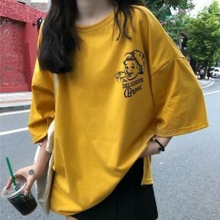 【L/イエロー】半袖Tシャツ 綿 ロゴ プリント アメカジ カジュアル(Tシャツ(長袖/七分))