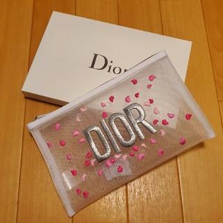 Dior - 【新品/未使用】ディオールノベルティポーチ 花びらポーチ白メッシュ
