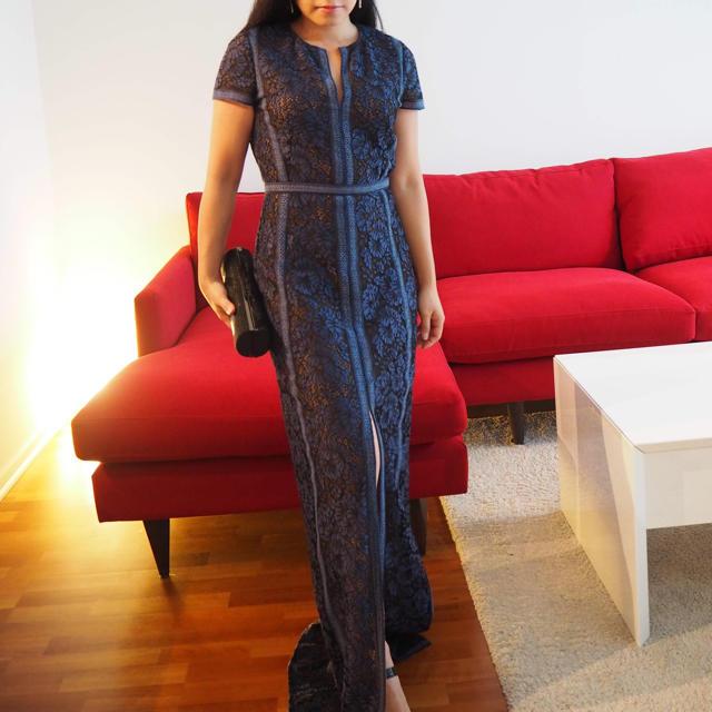 BCBGMAXAZRIA(ビーシービージーマックスアズリア)の【BCBGMAXAZRIA】スリット入り半袖レースドレス レディースのフォーマル/ドレス(ロングドレス)の商品写真