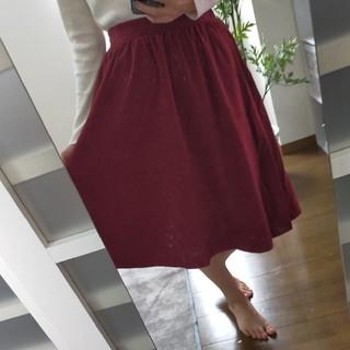 スカート ひざ下 赤 ワインレッド スエード(ひざ丈スカート)