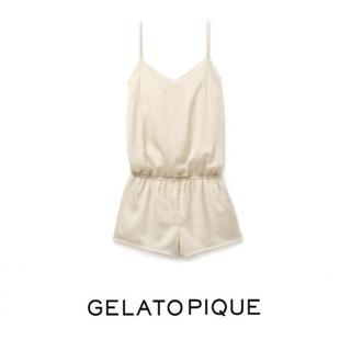gelato pique - ジェラートピケ サテンレースロンパース アイボリー ほぼ新品