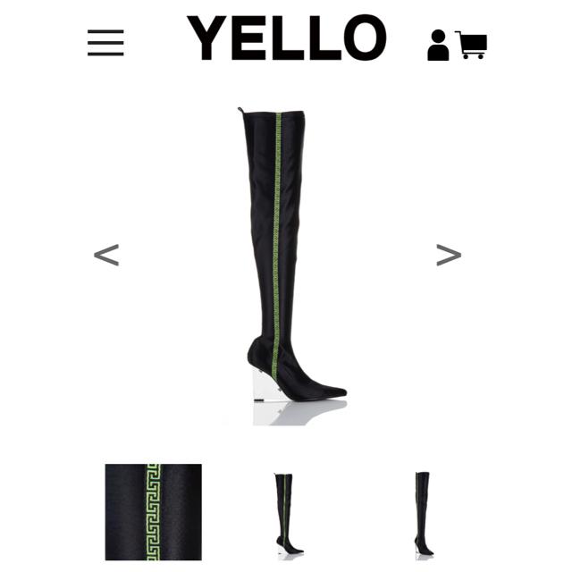 Yellow boots(イエローブーツ)のYelloのクリアウェッジヒールのストレッチニーハイブーツ レディースの靴/シューズ(ブーツ)の商品写真