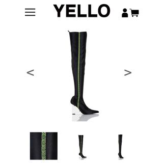 イエローブーツ(Yellow boots)のYelloのクリアウェッジヒールのストレッチニーハイブーツ(ブーツ)