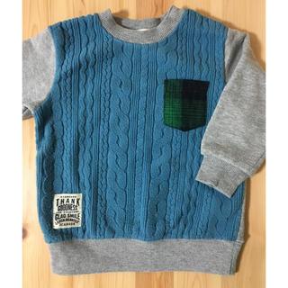 サンカンシオン(3can4on)の90サイズ トレーナー ブルー&グレー(Tシャツ/カットソー)