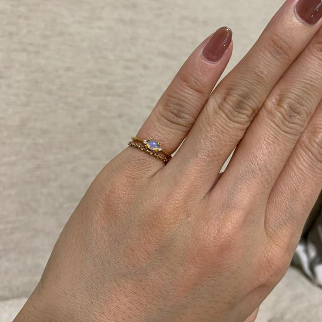 agete(アガット)の【美品】アガットピンキーリング 2連 オパールダイア、K10 レディースのアクセサリー(リング(指輪))の商品写真