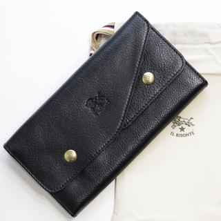 IL BISONTE - 新品 イルビゾンテ 二つ折り Wフラップ 財布 長財布 通帳 ケース ブラック