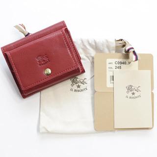 IL BISONTE - 新品 イルビゾンテ ミニ財布 ロゴ 三つ折り財布 折財布 ミニウォレット レッド