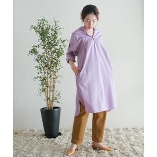 アダムエロぺ(Adam et Rope')のNOMBRE IMPAIR  cotton ピンストライプ ロングシャツ  (シャツ/ブラウス(半袖/袖なし))